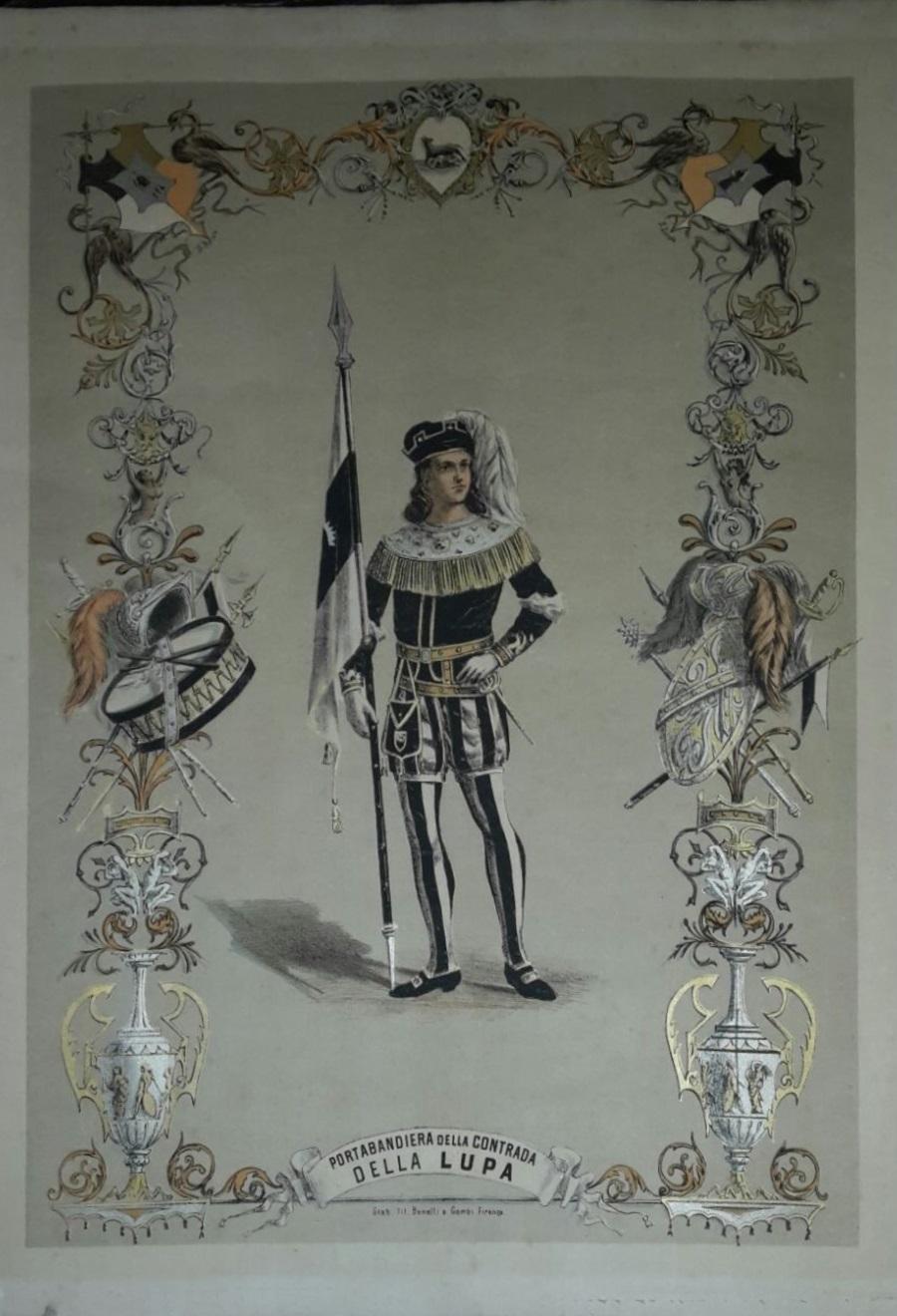 Stampa litografica raffigurante portabadiera della Contrada della Lupa realizzata alla fine dell'800 dagli Stabilimenti litografici Benelli e Gambi di Firenze