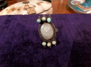 Anello con turchesi pietra di luna anni '70