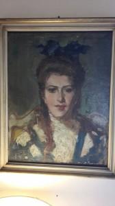 Ritratto di donna olio su tela primi '900
