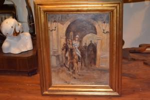 Dipinto olio su compensato buona qualità La cavalleria - primi '900