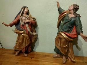 Coppia di sculture lignee policrome XVIII secolo