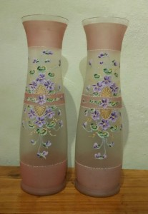 Coppia vasi in vetro decorati stile Liberty fine '800 primi '900